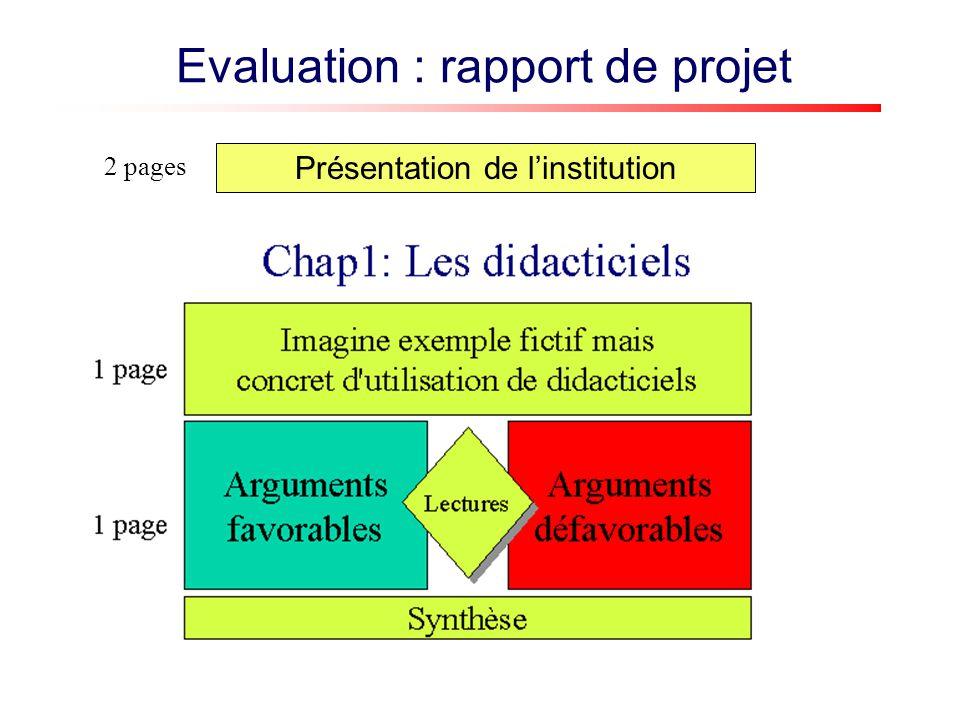 Présentation de linstitution 2 pages Conclusion : le « meilleur » dispositif pour ce contexte 1-2 pages Evaluation : rapport de projet Chap 4 : Les collecticiels Chap 2 : Micromondes et simulations Chap 3: Les hypertextes