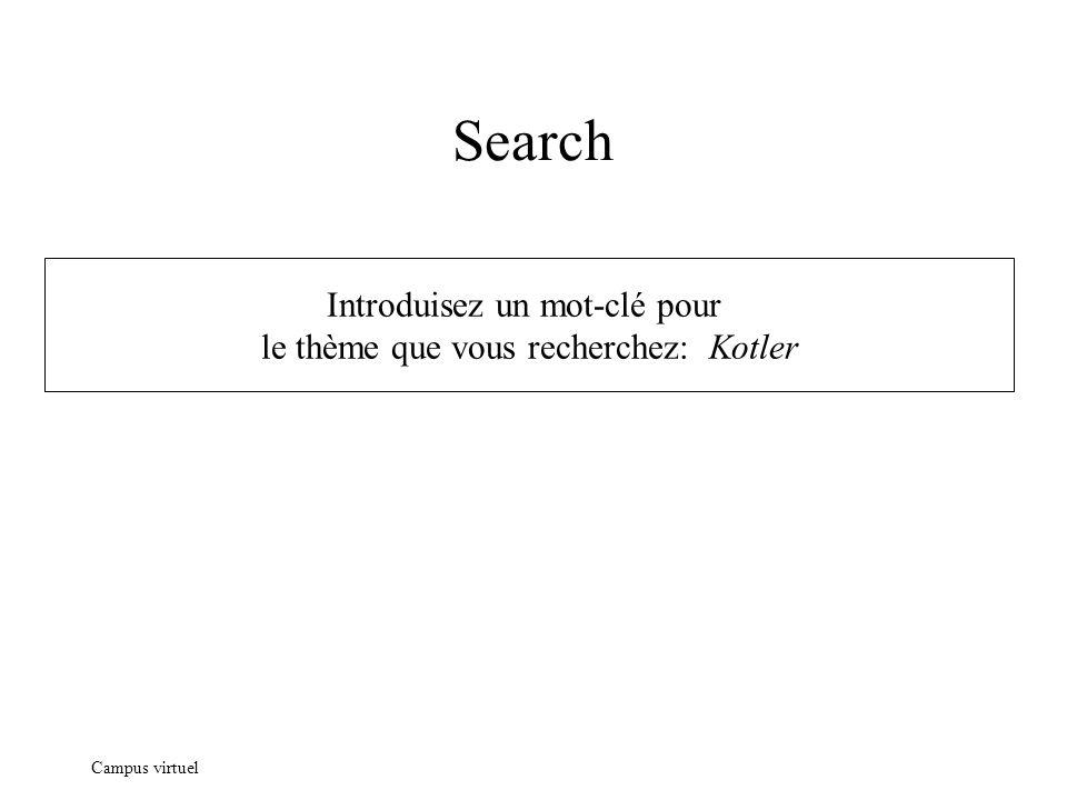 Campus virtuel Search Introduisez un mot-clé pour le thème que vous recherchez: Kotler