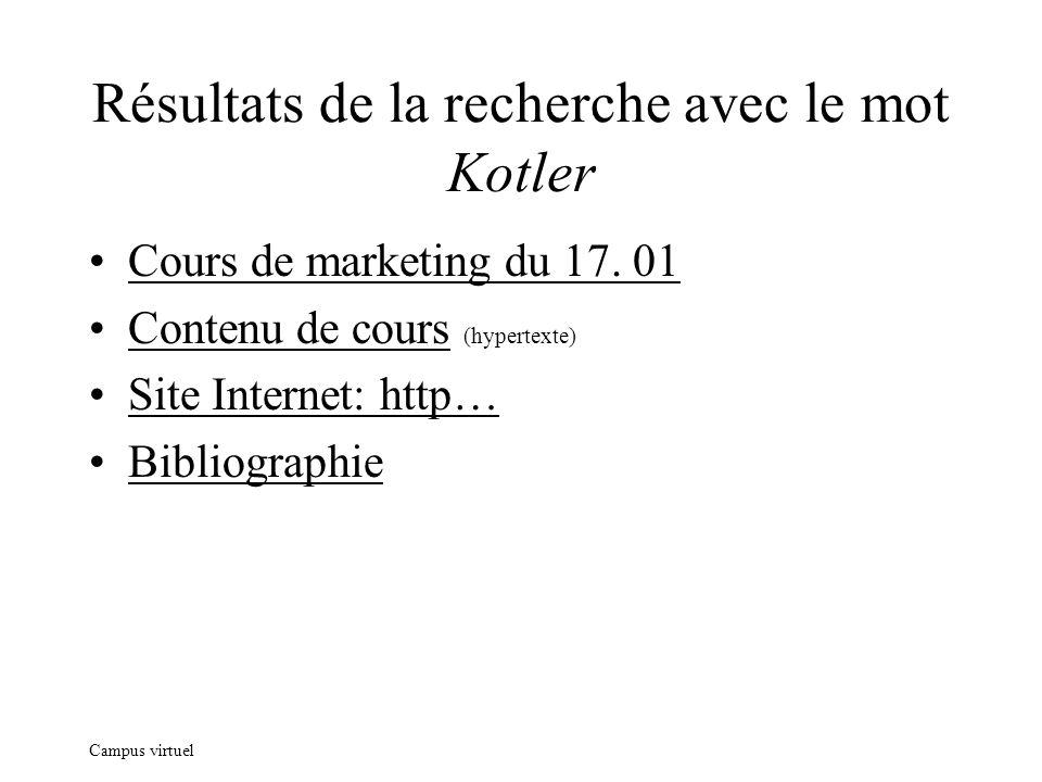 Campus virtuel Résultats de la recherche avec le mot Kotler Cours de marketing du 17. 01 Contenu de cours (hypertexte) Site Internet: http… Bibliograp