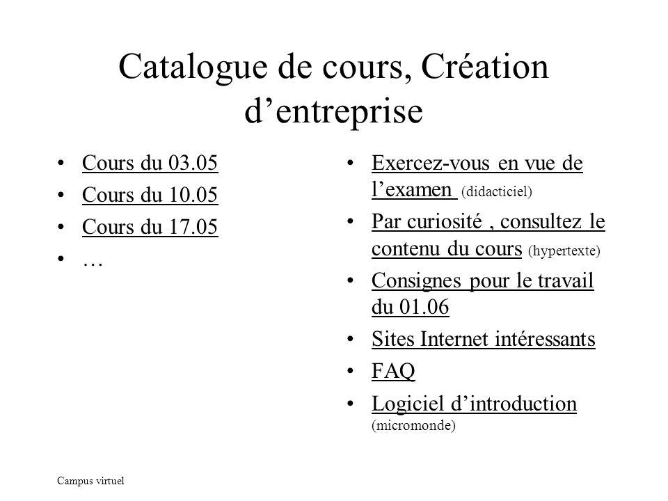 Campus virtuel Catalogue de cours, Création dentreprise Cours du 03.05 Cours du 10.05 Cours du 17.05 … Exercez-vous en vue de lexamen (didacticiel) Pa