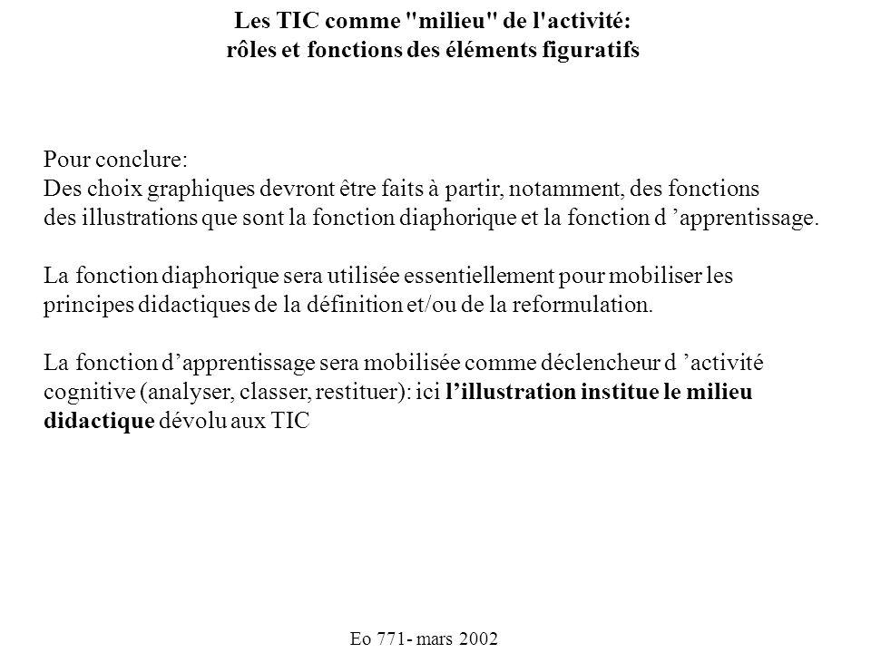 Eo 771- mars 2002 Les TIC comme milieu de l activité: rôles et fonctions des éléments figuratifs Pour conclure: Des choix graphiques devront être faits à partir, notamment, des fonctions des illustrations que sont la fonction diaphorique et la fonction d apprentissage.