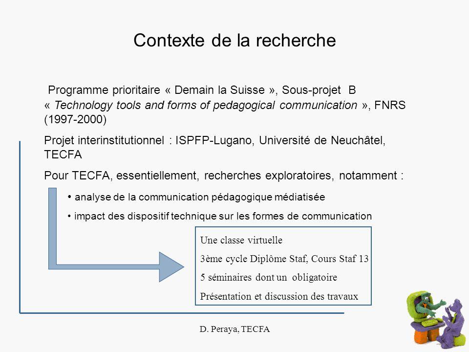 D. Peraya, TECFA Contexte de la recherche Programme prioritaire « Demain la Suisse », Sous-projet B « Technology tools and forms of pedagogical commun