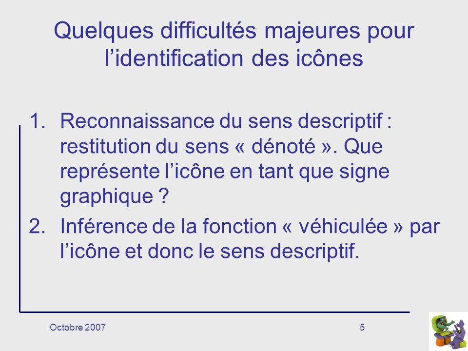 Octobre 20075 Quelques difficultés majeures pour lidentification des icônes 1.Reconnaissance du sens descriptif : restitution du sens « dénoté ».
