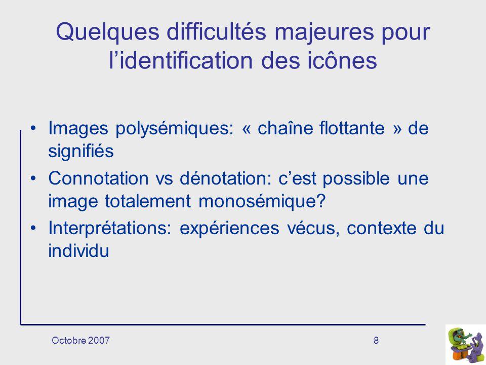 Octobre 20078 Quelques difficultés majeures pour lidentification des icônes Images polysémiques: « chaîne flottante » de signifiés Connotation vs déno