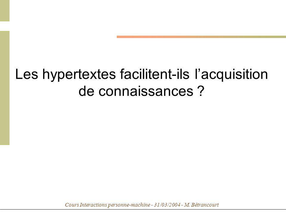 Cours Interactions personne-machine - 31/03/2004 - M. Bétrancourt Les hypertextes facilitent-ils lacquisition de connaissances ?