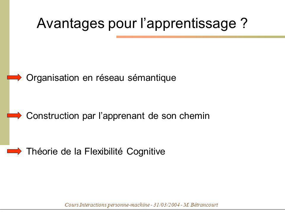 Cours Interactions personne-machine - 31/03/2004 - M. Bétrancourt Avantages pour lapprentissage ? Organisation en réseau sémantique Construction par l
