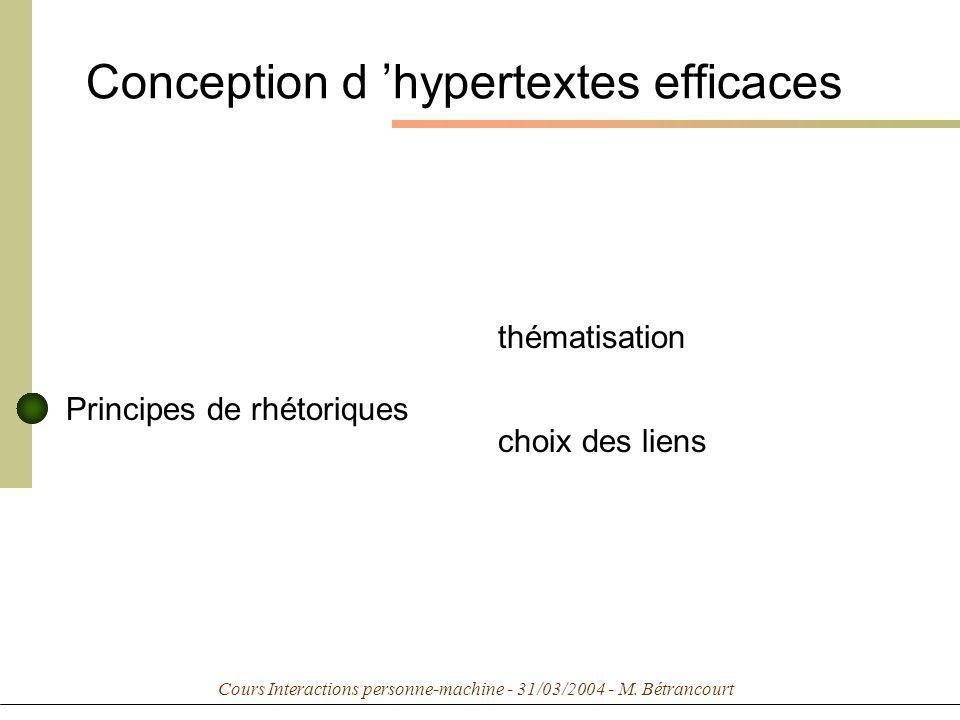Cours Interactions personne-machine - 31/03/2004 - M. Bétrancourt Conception d hypertextes efficaces Principes de rhétoriques thématisation choix des