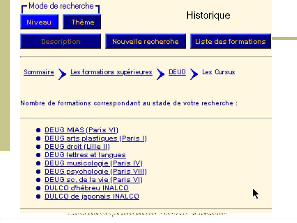 Cours Interactions personne-machine - 31/03/2004 - M. Bétrancourt Historique