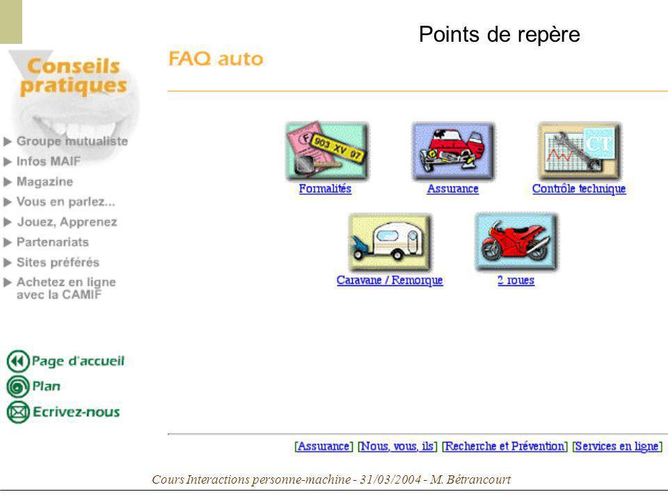 Cours Interactions personne-machine - 31/03/2004 - M. Bétrancourt Points de repère