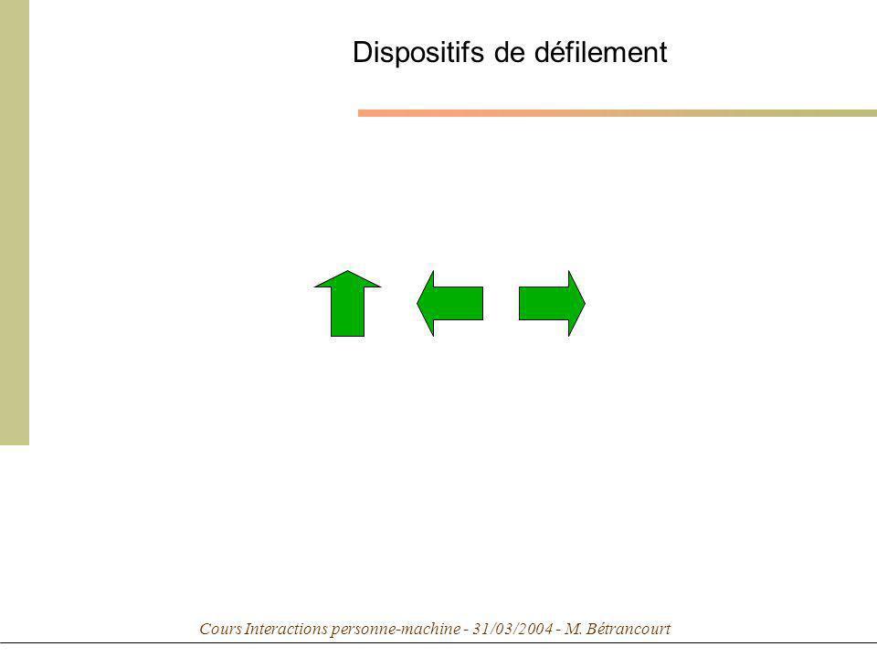 Cours Interactions personne-machine - 31/03/2004 - M. Bétrancourt Dispositifs de défilement