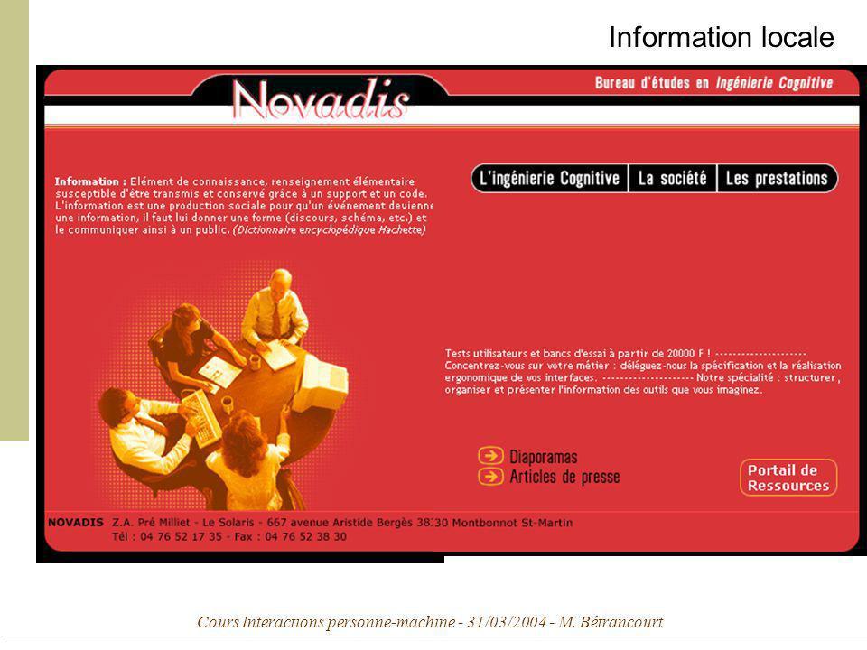 Cours Interactions personne-machine - 31/03/2004 - M. Bétrancourt Information locale