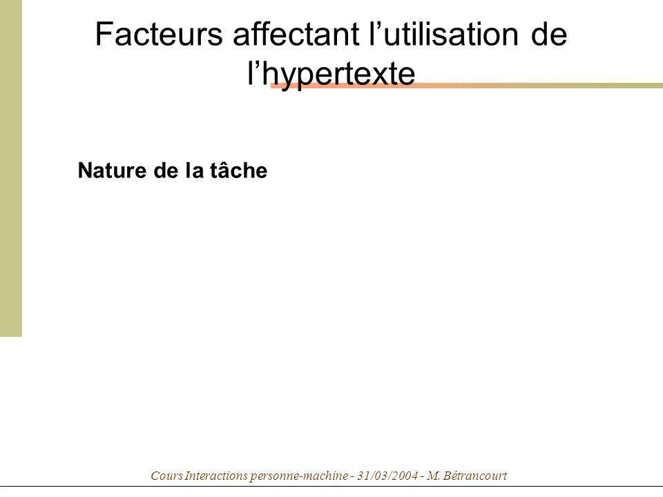 Cours Interactions personne-machine - 31/03/2004 - M. Bétrancourt Facteurs affectant lutilisation de lhypertexte Nature de la tâche