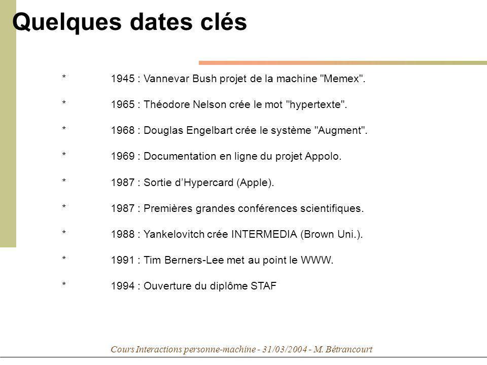 Cours Interactions personne-machine - 31/03/2004 - M. Bétrancourt *1945 : Vannevar Bush projet de la machine