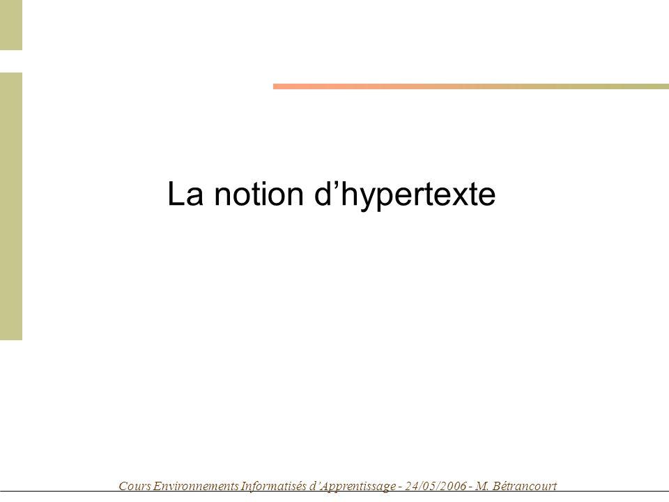 Cours Environnements Informatisés dApprentissage - 24/05/2006 - M. Bétrancourt La notion dhypertexte