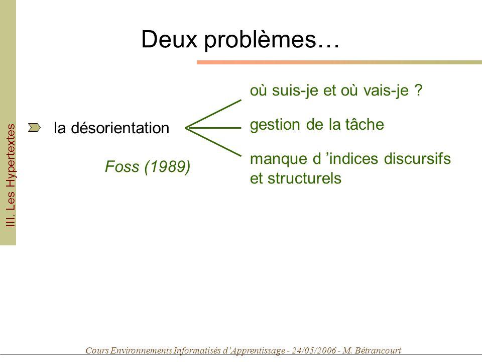 Cours Environnements Informatisés dApprentissage - 24/05/2006 - M. Bétrancourt Deux problèmes… la désorientation gestion de la tâche où suis-je et où
