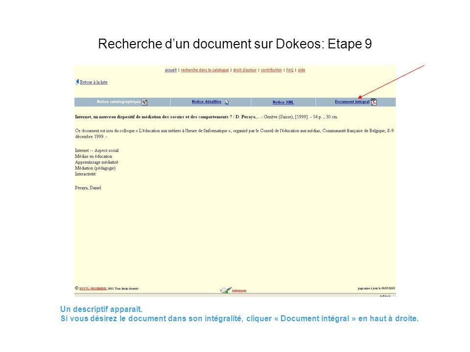 Un descriptif apparaît. Si vous désirez le document dans son intégralité, cliquer « Document intégral » en haut à droite. Recherche dun document sur D