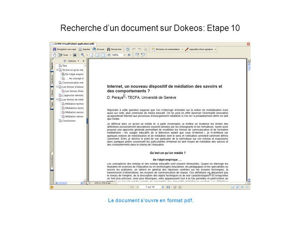 Le document souvre en format pdf. Recherche dun document sur Dokeos: Etape 10