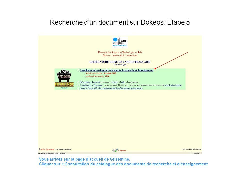 Vous arrivez sur la page daccueil de Grisemine. Cliquer sur « Consultation du catalogue des documents de recherche et denseignement Recherche dun docu