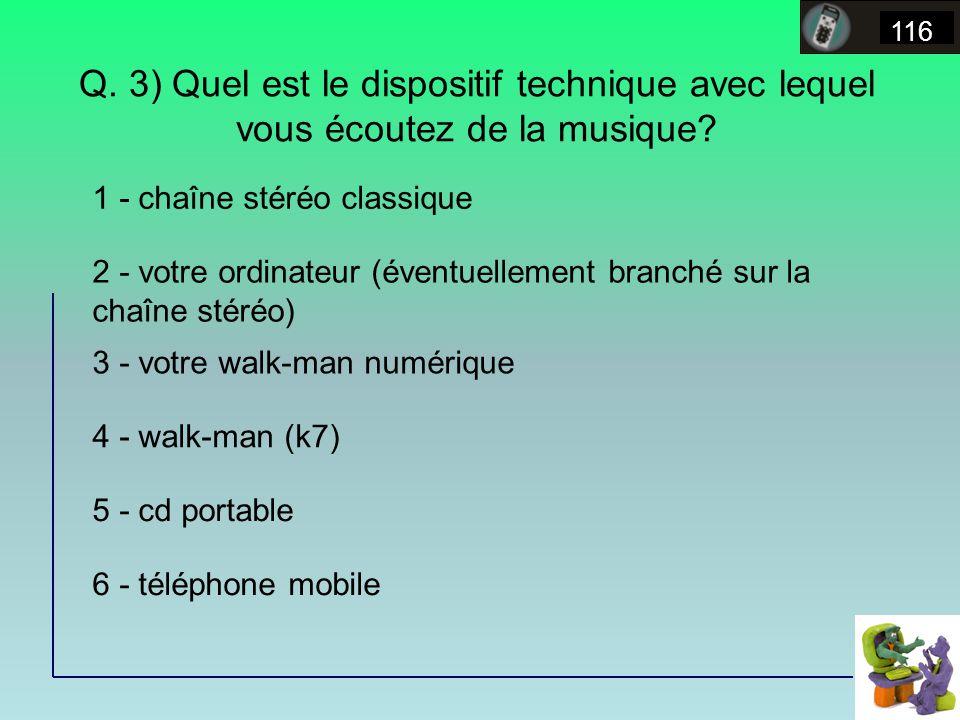 Q. 3) Quel est le dispositif technique avec lequel vous écoutez de la musique.