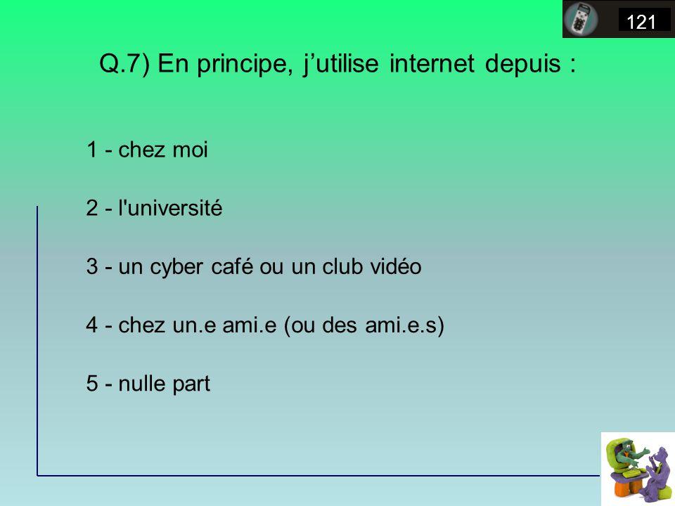 Q.7) En principe, jutilise internet depuis : 121 1 - chez moi 2 - l université 3 - un cyber café ou un club vidéo 4 - chez un.e ami.e (ou des ami.e.s) 5 - nulle part