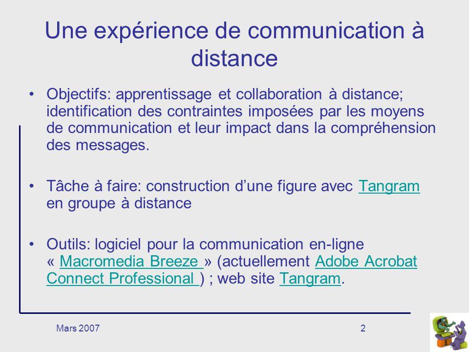 Mars 20072 Une expérience de communication à distance Objectifs: apprentissage et collaboration à distance; identification des contraintes imposées par les moyens de communication et leur impact dans la compréhension des messages.