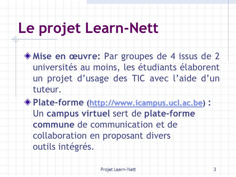 Projet Learn-Nett3 Le projet Learn-Nett Mise en œuvre: Par groupes de 4 issus de 2 universités au moins, les étudiants élaborent un projet dusage des TIC avec laide dun tuteur.
