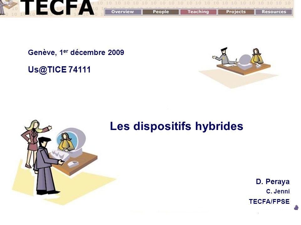 1 Novembre 2008 D. Peraya TECFA - UNIGE Les dispositifs hybrides D. Peraya C. Jenni TECFA/FPSE Genève, 1 er décembre 2009 Us@TICE 74111