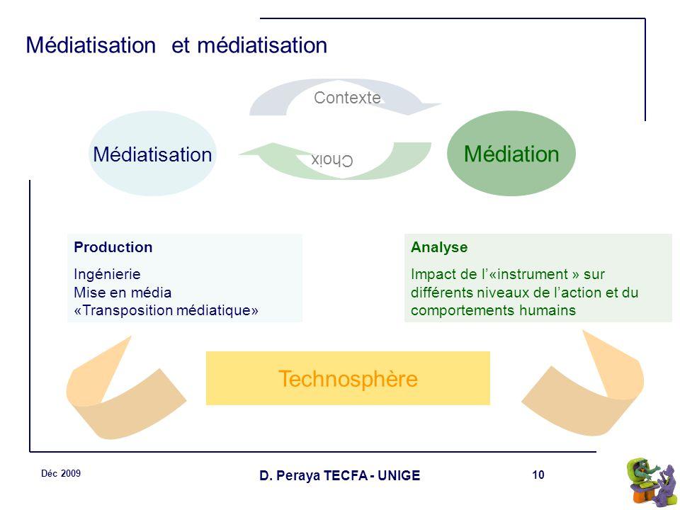 10 Déc 2009 D. Peraya TECFA - UNIGE Médiatisation et médiatisation Médiatisation Médiation Production Ingénierie Mise en média «Transposition médiatiq