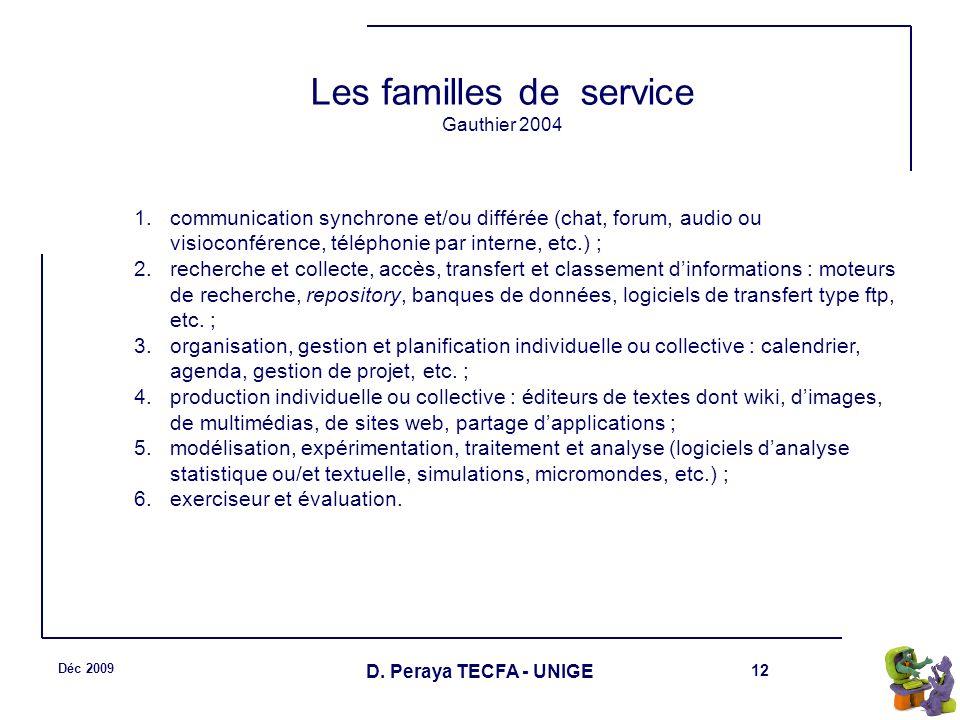 12 Déc 2009 D. Peraya TECFA - UNIGE Les familles de service Gauthier 2004 1.communication synchrone et/ou différée (chat, forum, audio ou visioconfére