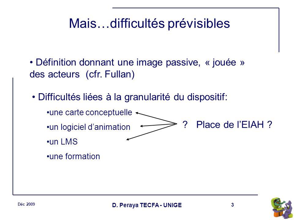 3 Déc 2009 D. Peraya TECFA - UNIGE Mais…difficultés prévisibles Définition donnant une image passive, « jouée » des acteurs (cfr. Fullan) Difficultés