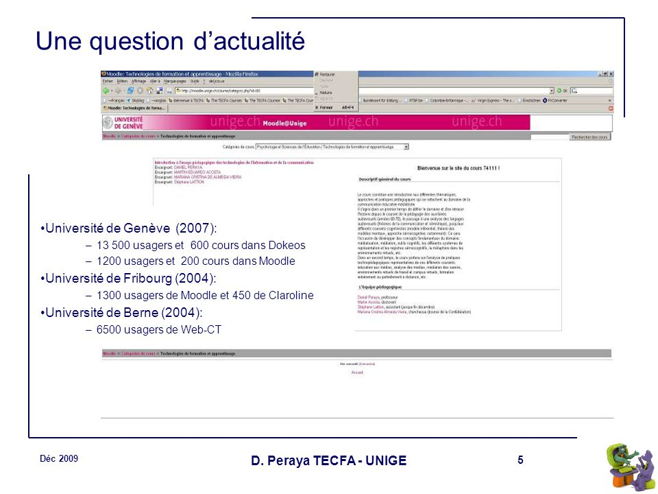 5 Déc 2009 D. Peraya TECFA - UNIGE Une question dactualité Université de Genève (2007): –13 500 usagers et 600 cours dans Dokeos –1200 usagers et 200
