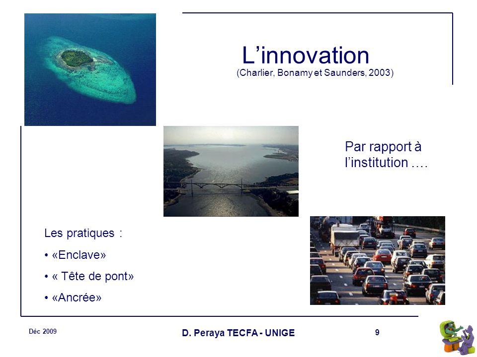 9 Déc 2009 D. Peraya TECFA - UNIGE Linnovation (Charlier, Bonamy et Saunders, 2003) Les pratiques : «Enclave» « Tête de pont» «Ancrée» Par rapport à l