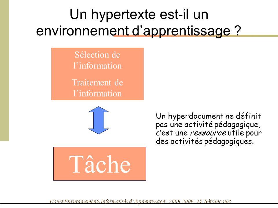 Cours Environnements Informatisés dApprentissage - 2008-2009 - M. Bétrancourt Sélection de linformation Traitement de linformation Tâche Un hyperdocum