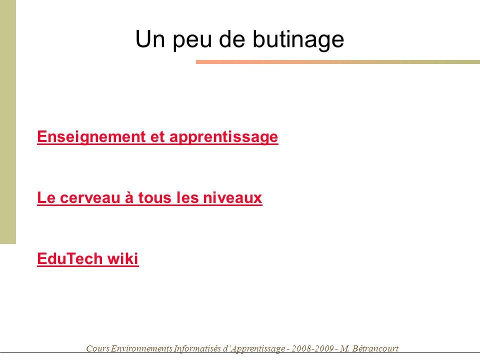 Cours Environnements Informatisés dApprentissage - 2008-2009 - M. Bétrancourt Un peu de butinage Enseignement et apprentissage Le cerveau à tous les n
