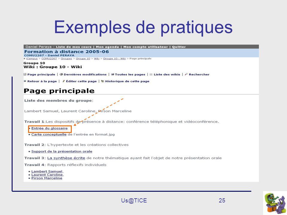 Us@TICE25 Exemples de pratiques