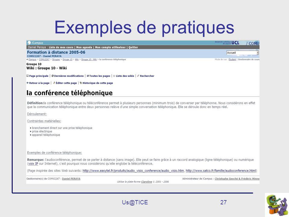 Us@TICE27 Exemples de pratiques