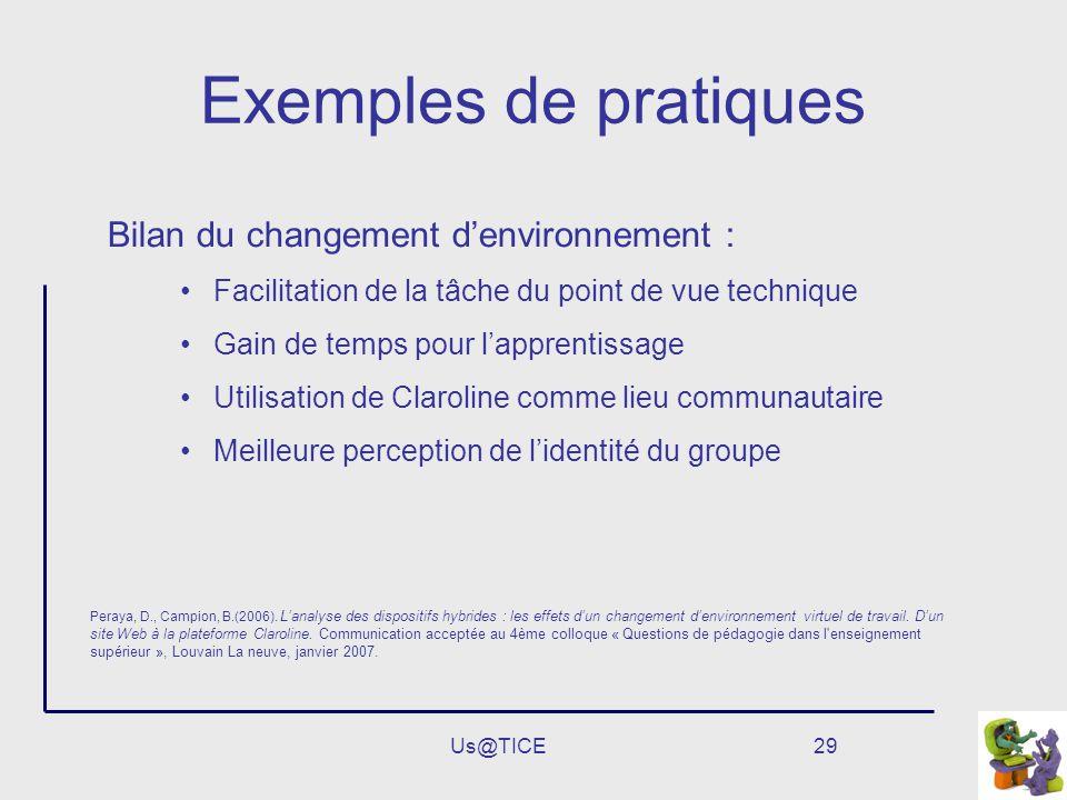 Us@TICE29 Exemples de pratiques Bilan du changement denvironnement : Facilitation de la tâche du point de vue technique Gain de temps pour lapprentiss