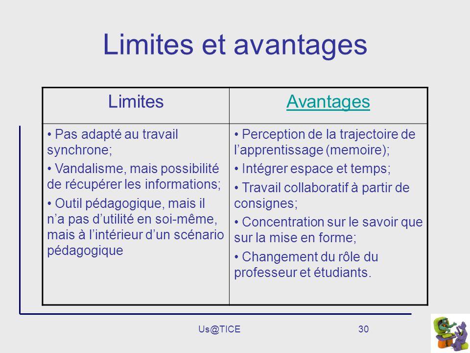 Us@TICE30 Limites et avantages LimitesAvantages Pas adapté au travail synchrone; Vandalisme, mais possibilité de récupérer les informations; Outil péd