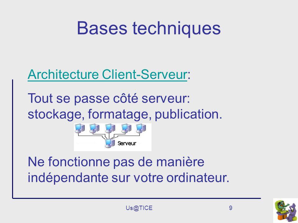 Us@TICE9 Bases techniques Architecture Client-ServeurArchitecture Client-Serveur: Tout se passe côté serveur: stockage, formatage, publication. Ne fon