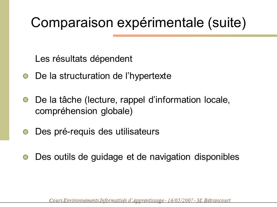 Cours Environnements Informatisés dApprentissage - 16/05/2007 - M. Bétrancourt Comparaison expérimentale (suite) Les résultats dépendent De la structu