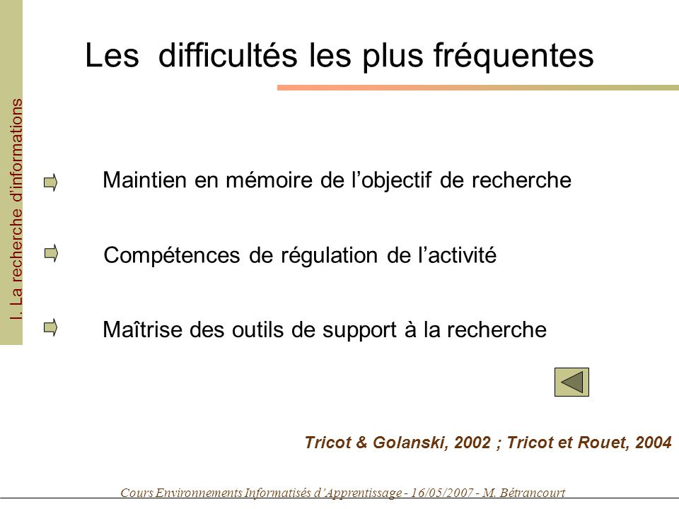 Cours Environnements Informatisés dApprentissage - 16/05/2007 - M. Bétrancourt Les difficultés les plus fréquentes I. La recherche dinformations Maint