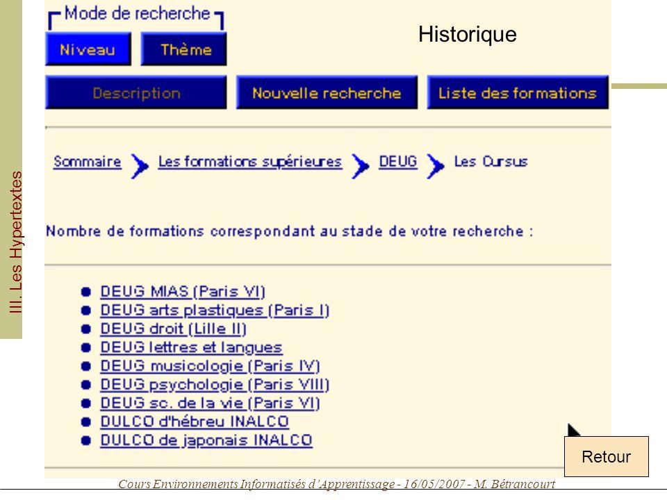 Cours Environnements Informatisés dApprentissage - 16/05/2007 - M. Bétrancourt Historique Retour III. Les Hypertextes