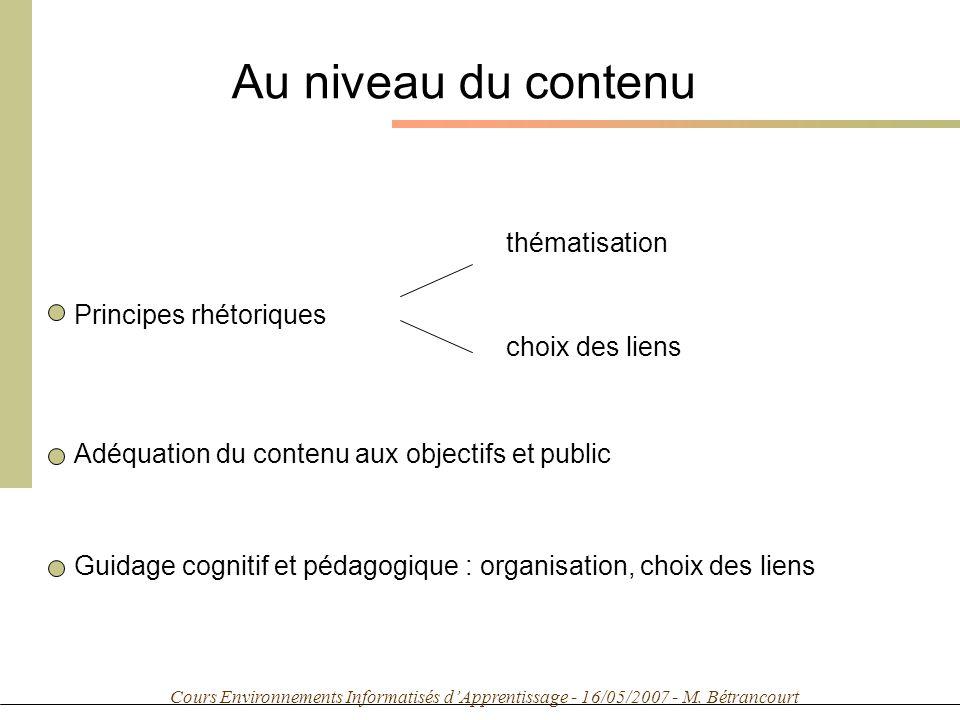 Cours Environnements Informatisés dApprentissage - 16/05/2007 - M. Bétrancourt Au niveau du contenu Principes rhétoriques thématisation choix des lien