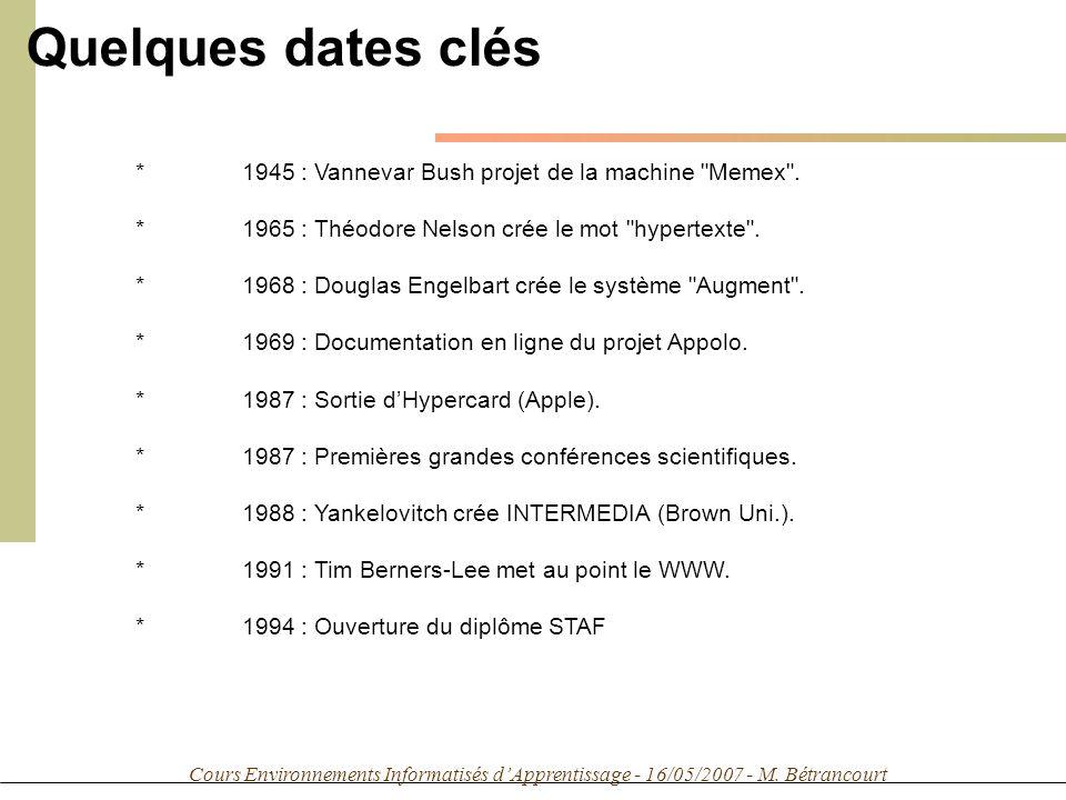 Cours Environnements Informatisés dApprentissage - 16/05/2007 - M. Bétrancourt *1945 : Vannevar Bush projet de la machine