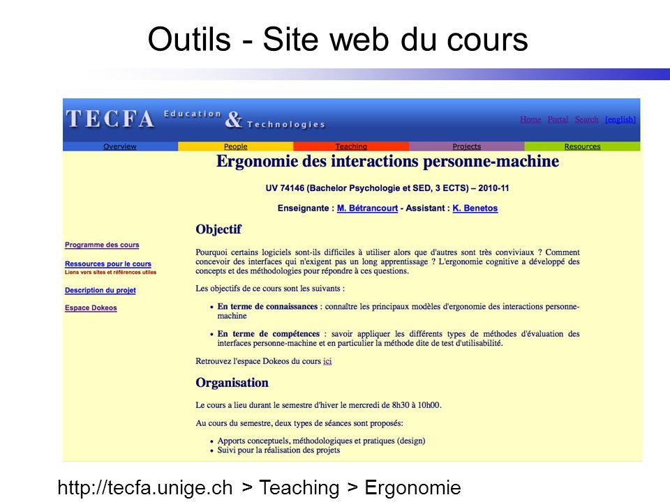 Outils - Site web du cours http://tecfa.unige.ch > Teaching > Ergonomie
