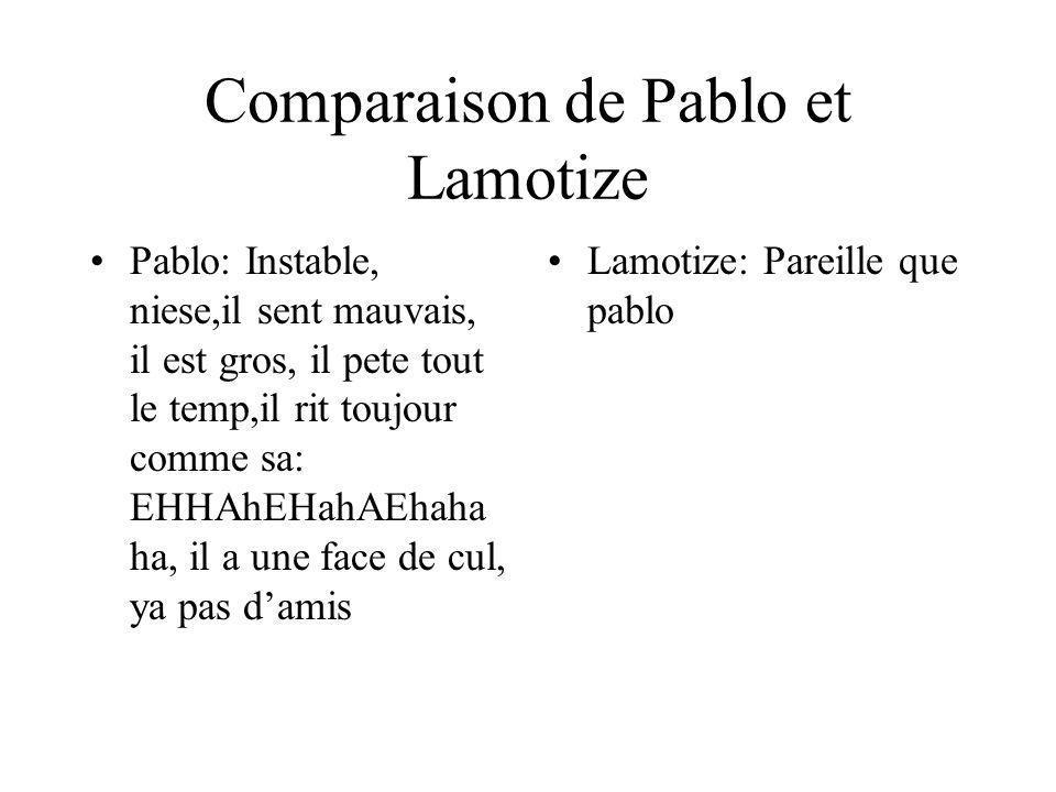 Comparaison de Pablo et Lamotize Pablo: Instable, niese,il sent mauvais, il est gros, il pete tout le temp,il rit toujour comme sa: EHHAhEHahAEhaha ha, il a une face de cul, ya pas damis Lamotize: Pareille que pablo