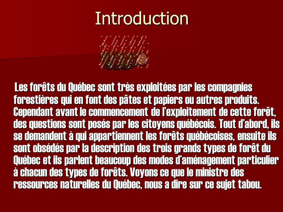Introduction Les forêts du Québec sont très exploitées par les compagnies forestières qui en font des pâtes et papiers ou autres produits. Cependant a