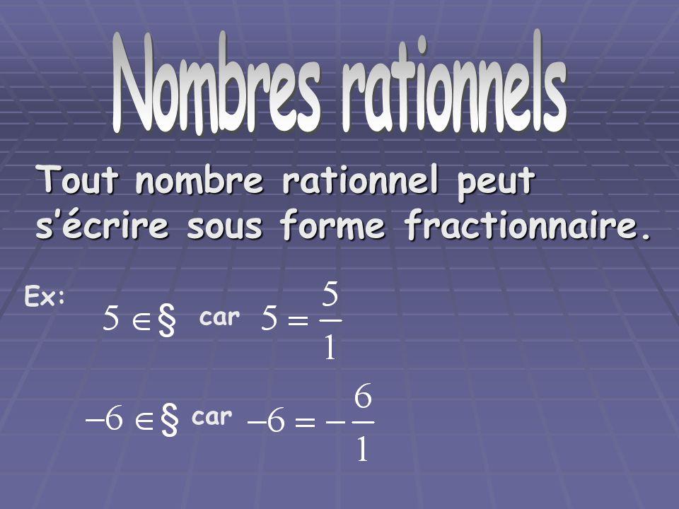 Nombre rationnels Tout nombre rationnel peut sécrire sous forme fractionnaire. car Ex: car