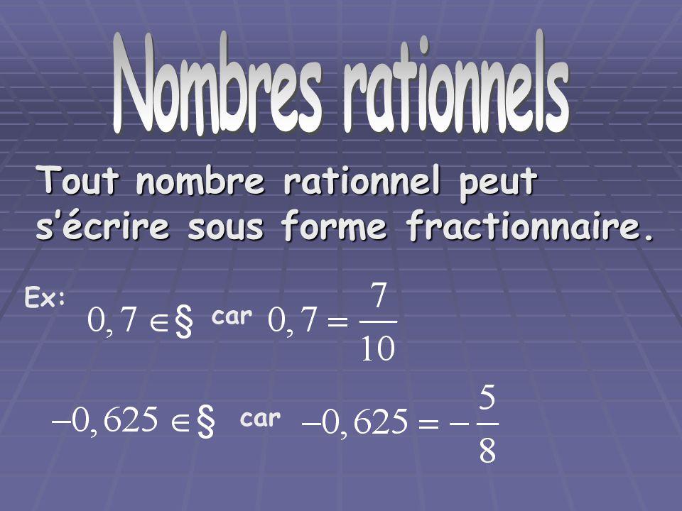 Nombre rationnels Tout nombre rationnel possède la propriété suivante: son écriture décimale est illimitée et périodique.