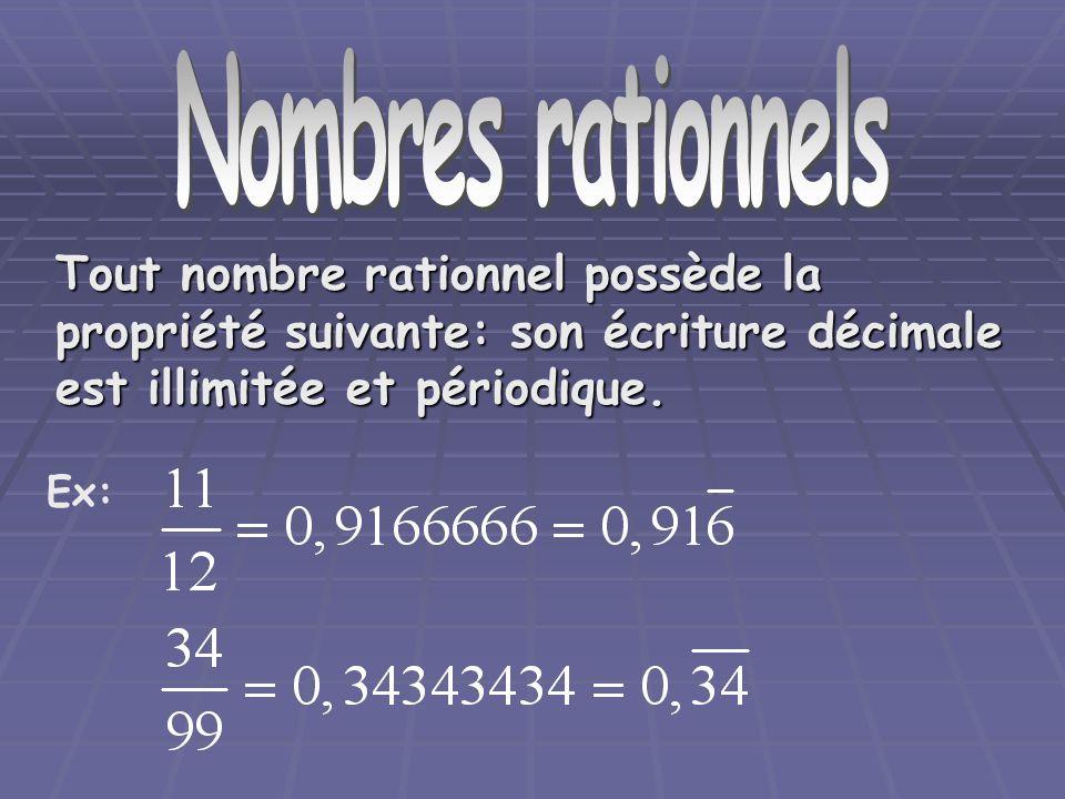 Nombre rationnels Tout nombre rationnel possède la propriété suivante: son écriture décimale est illimitée et périodique. Ex: